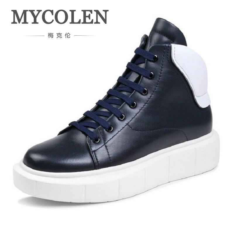 MYCOLEN New Winter Casual Men Shoes Fashion Trends Lace-Up Breathable Flat With High Top Leather Shoes Personality Martin Boots mycolen new 2017 men shoes casual breathable fashion leather shoes high top comfortable winter trainers shoes schoenen mannen