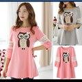 Coreano outono maternidade vestidos roupas para mulheres grávidas águia