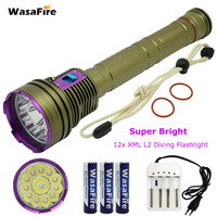 Professional LED Scuba Diving Flashlight Torch 12x L2 30000lm Waterproof Diving Light Underwater 100M Lamp 18650 Battery Charger