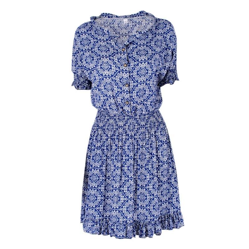 ce4fb0c88ed Модные летние женское платье Цветочный принт короткий рукав Мини платье  v-образным вырезом Повседневное Платья для женщин