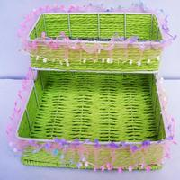 Square Upper And Lower Two Layers Of Lace Pure Hand Woven Storage Basket 94