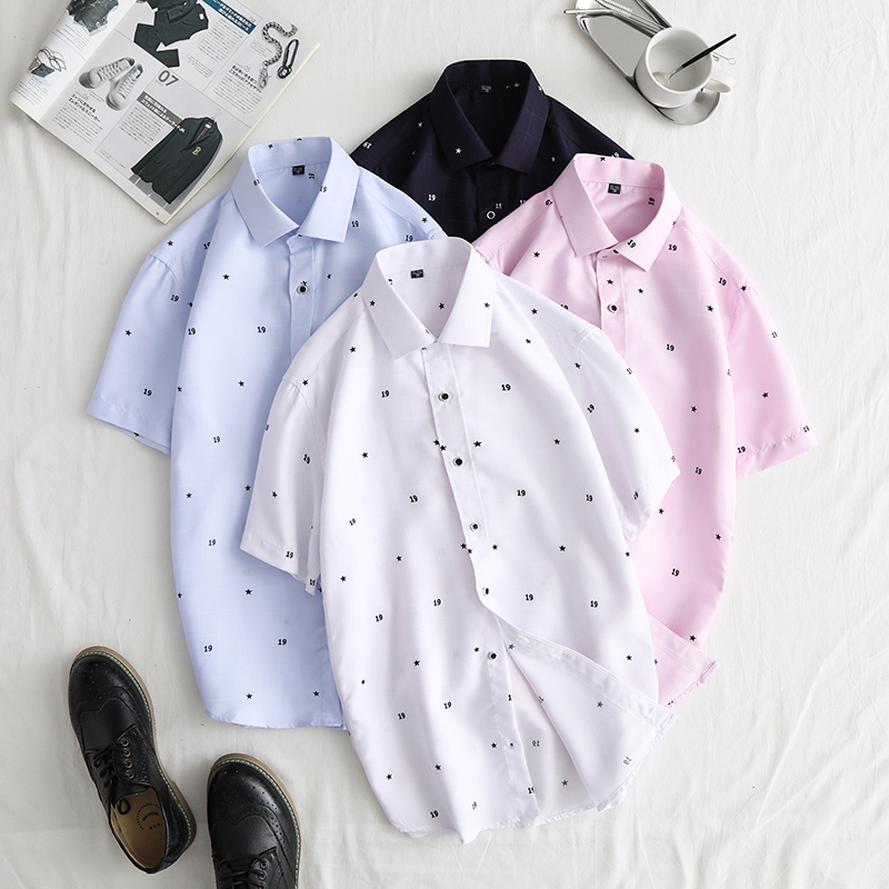 Literature Large Code Short Sleeve Man Lattice Printing Tile White Background Leisure Time Shirt Favourite Fashion Free shipping