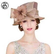 FS sombreros Vintage para las mujeres Brown Sinamay Kentucky Derby sombreros  ropa sombrero real de la boda elegante señoras Brim. 0a756ea3f96