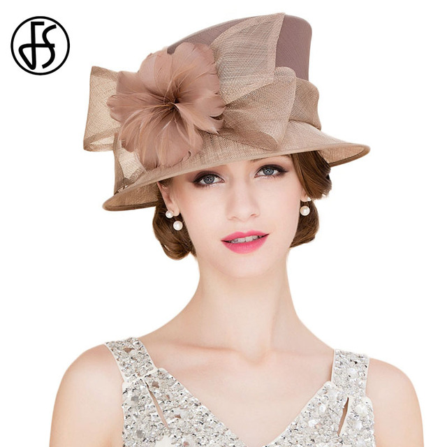 40fe1d43a29 FS Vintage Hats For Women Brown Sinamay Kentucky Derby Hats Linen Royal  Wedding Hat Elegant Ladies Wide Brim Feather Fedoras