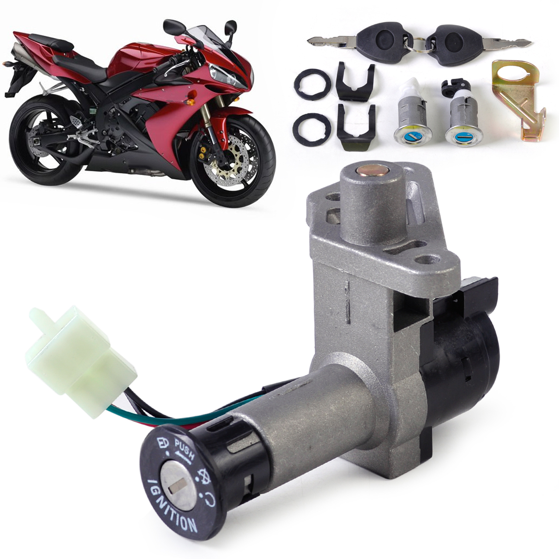 Moped Scooter Ignition Key Switch Lock Toolbox Cushion Lock fit for 50-150cc GY6 TaoTao Buyang Roketa Chinese Part 4 Wire 4Pin