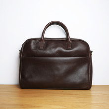 LANSPACE men's leather briefcase brand high quality cow leather business handbag top laptop bag