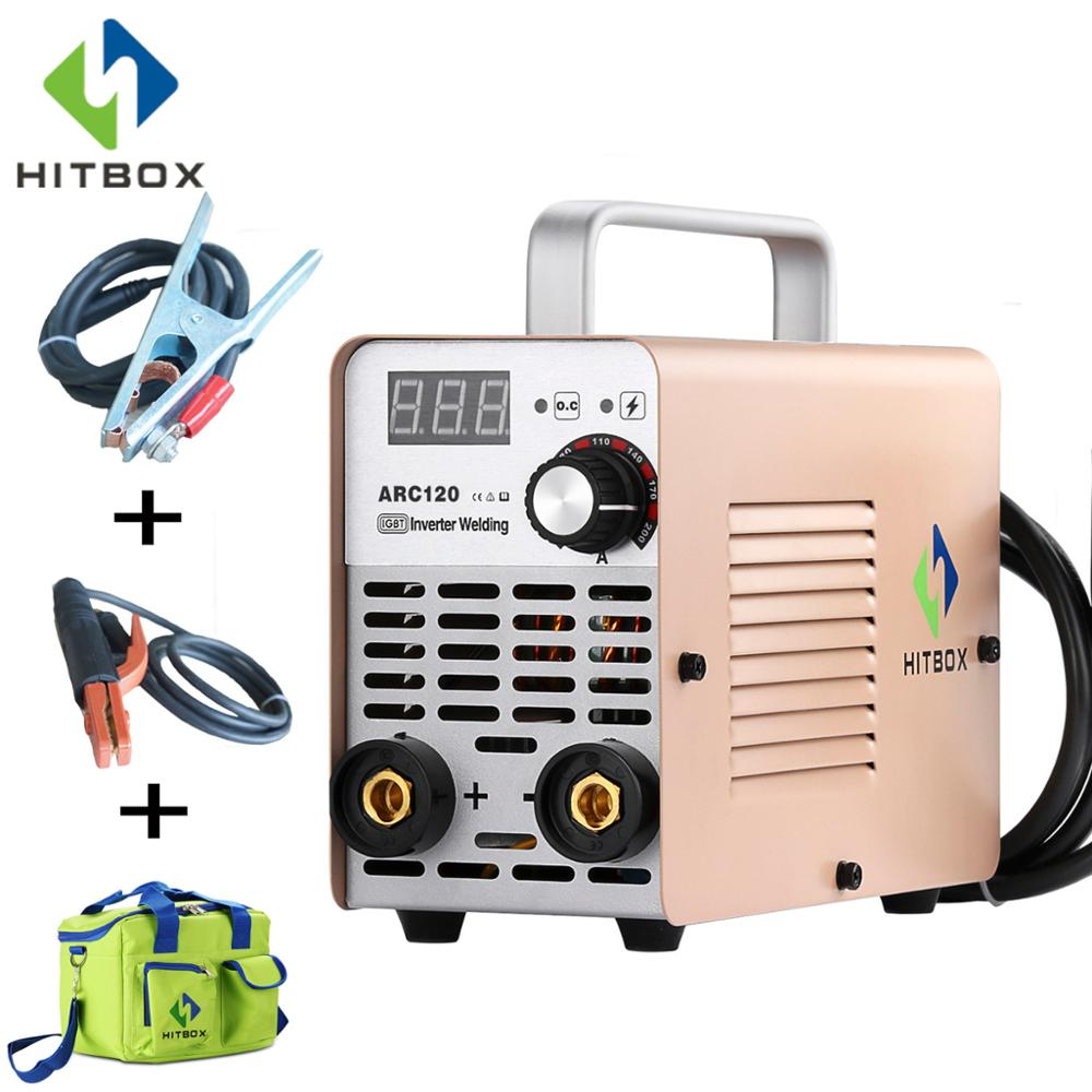 HITBOX Free Shipping Inverter ARC Welder Mini ARC 220V Small Size Welder ARC120 For Home Use 120A MMA Welding Machine tungfull electric arc welder inverter electric welding machine 200a ip21s arc welder inverter for welding working and electric