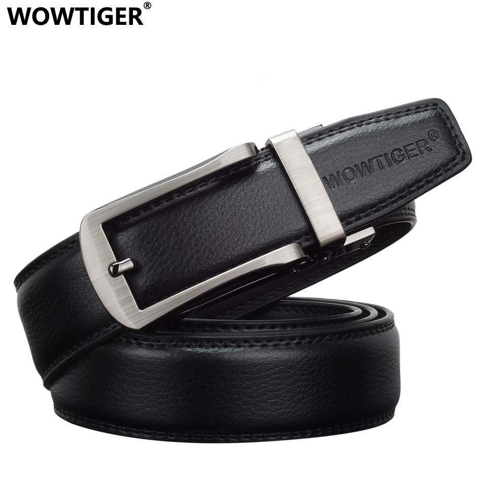 WOWTIGER Mens Leather High Quality Male Luxury Brand Designer Automatic Ratchet Buckle Belts For Men Cinturon Hombre Ceinture