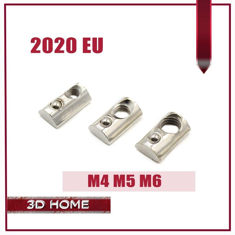20Pcs M4 M5 M6 T Spring Nut  Half Round Elasticity Spring Nut Block For 2020 EU Standard Aluminium Profile Slot Groove 6