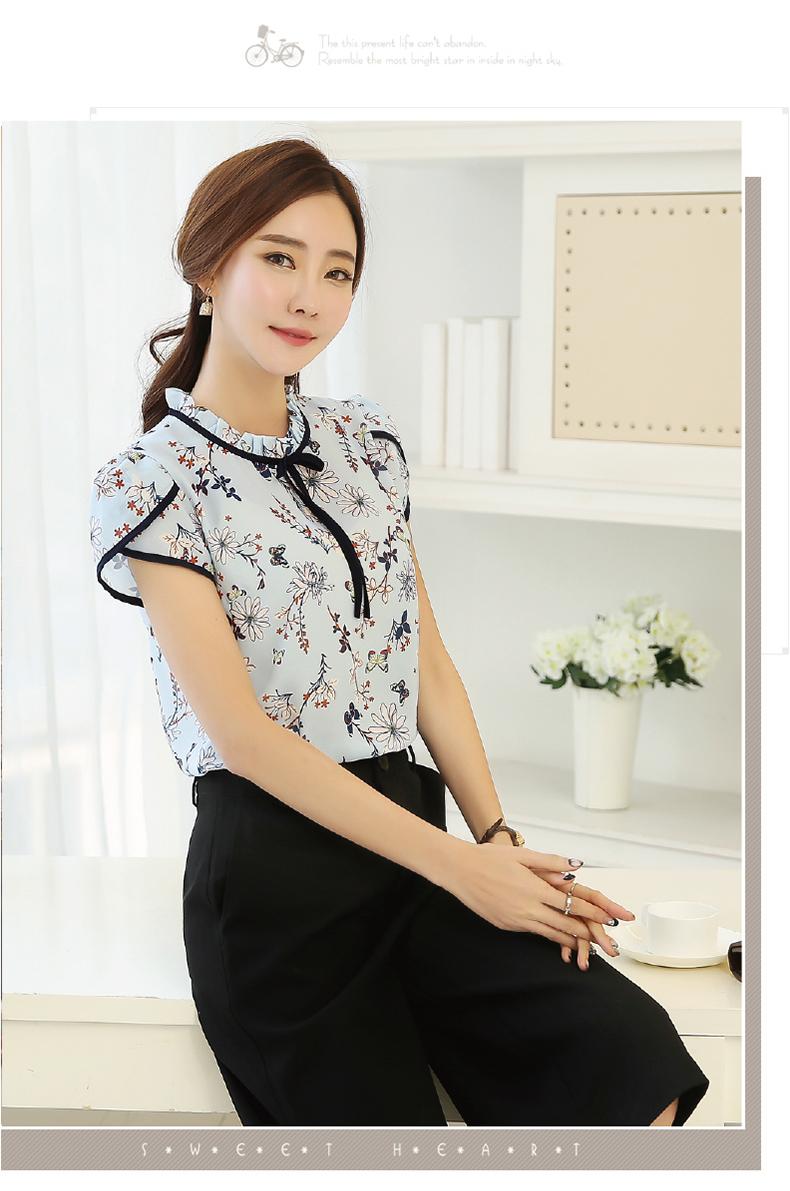 HTB1l9efPVXXXXXSaFXXq6xXFXXXH - Summer Floral Print Chiffon Blouse Ruffled Collar Bow Neck Shirt