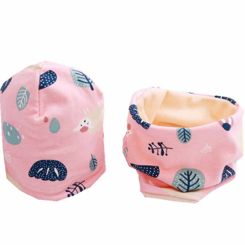 แฟชั่นสาวใหม่ชุดสีทึบเด็กหัวฤดูใบไม้ผลิชายคออุ่นคอเด็กทารก Beanies ชุดผ้าฝ้ายเด็กหมวกผ้าพันคอ