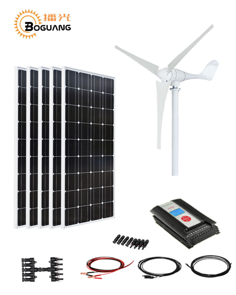 Boguang 500w solar system kit 100w solar panel 600w Wind Turbines 1200w controller cable for seaside home Power generation 100w folding solar panel solar battery charger for car boat caravan golf cart