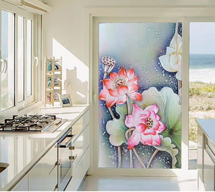 Static film Impervious glass film sliding door wardrobes paste stickers affixed wardrobe bathroom window film