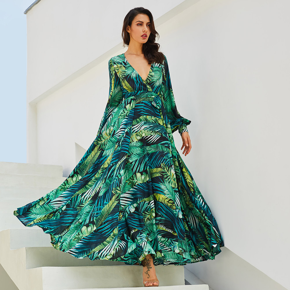 Women Fashion New Floral Printed Long Maxi Dress Summer Beach Plus Size Holiday Green Dresses Printed Beach Chiffon Maxi Dress