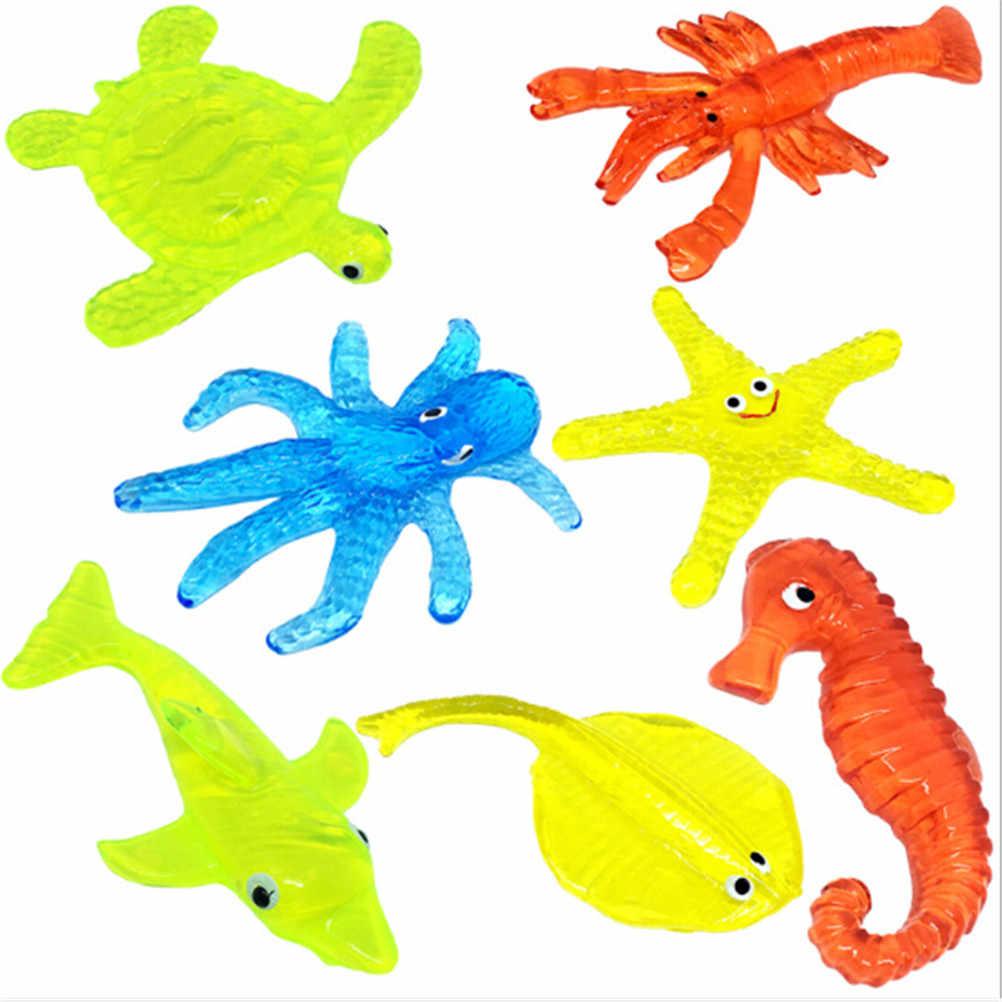 Jouets animaux marins collants pour enfants matériau souple décompression étoile de mer pieuvre requin jouet