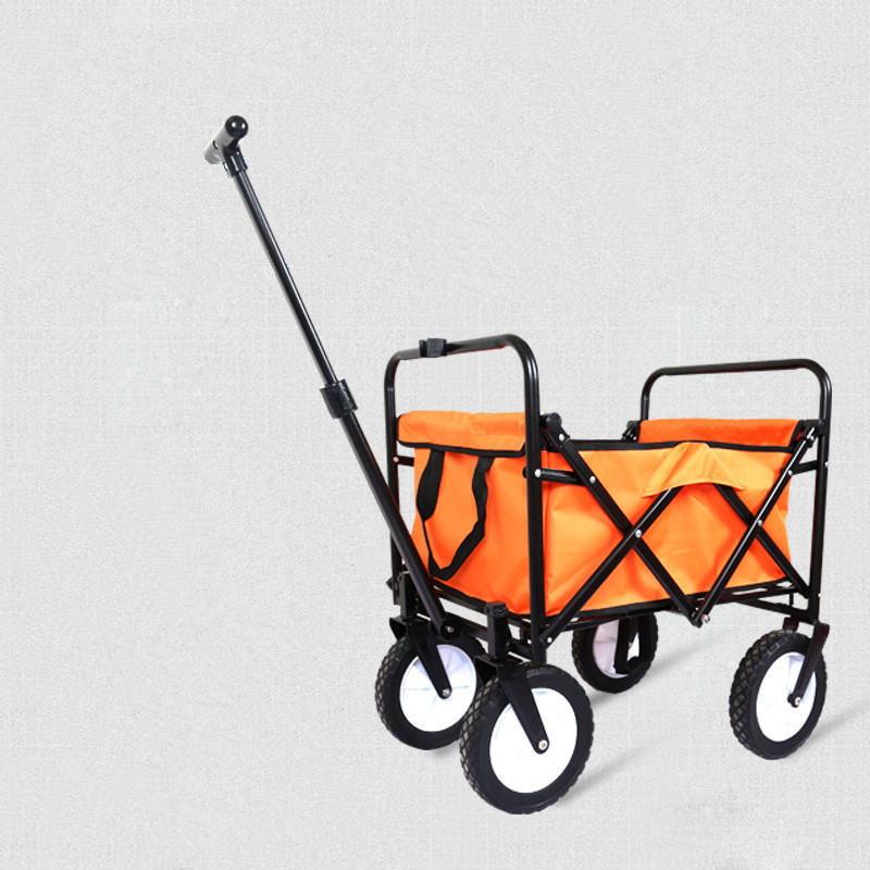 Mini Oxford home shopping cart, portable fold  T-type trolley trailer, double brake luggage cart