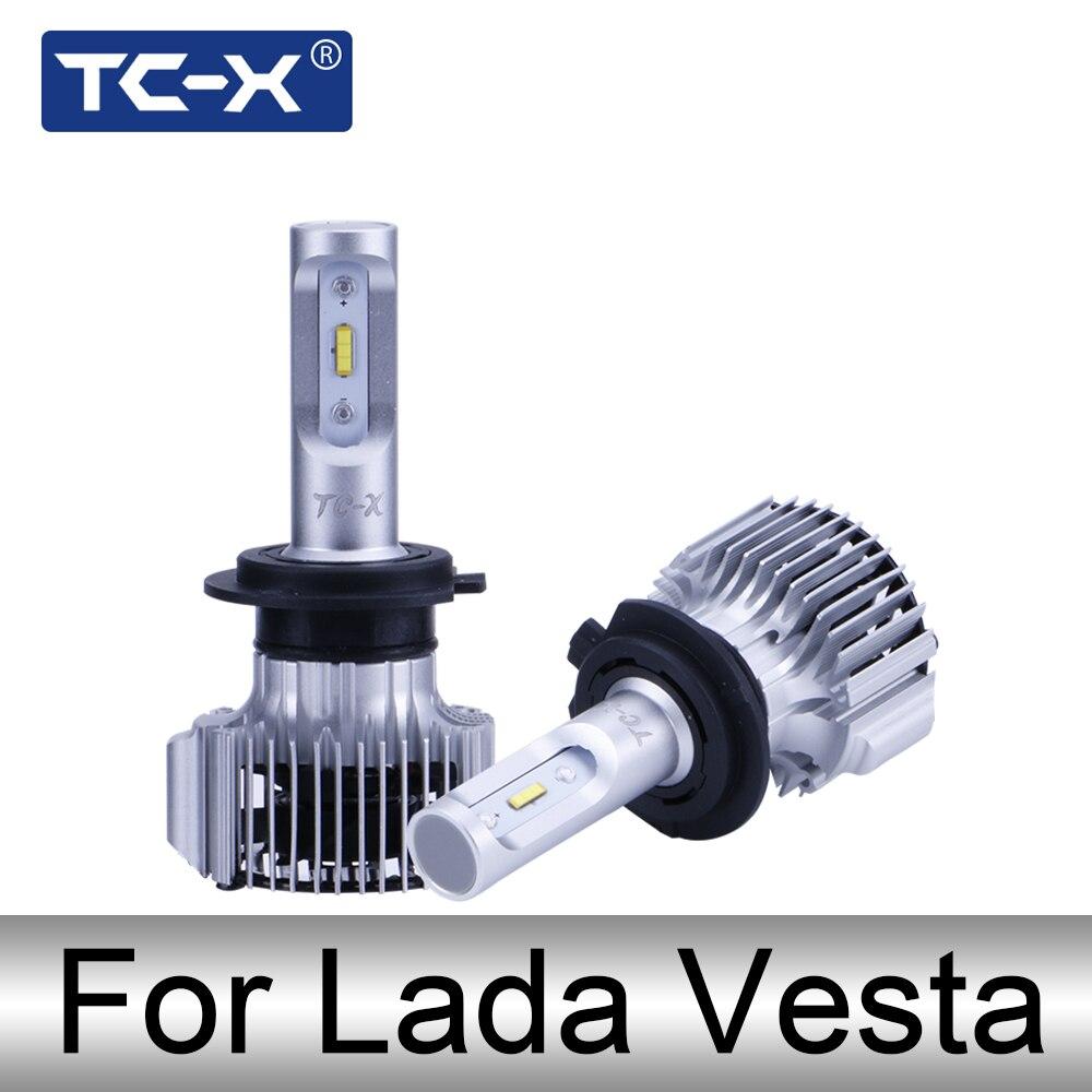 TC-X LED Phare De Voiture Pour LADA Vesta Led H1 Haute Faisceau Phares kit H7 de Croisement 12 v Avant led Ampoules H11 brouillard lampe Chaud blanc