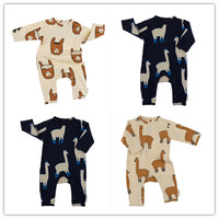 2017 Newborn Baby Boys Girls Rompers Tiny Cotton Long Sleeve Baby Toddler Romper Jumpsuit Grass Mud