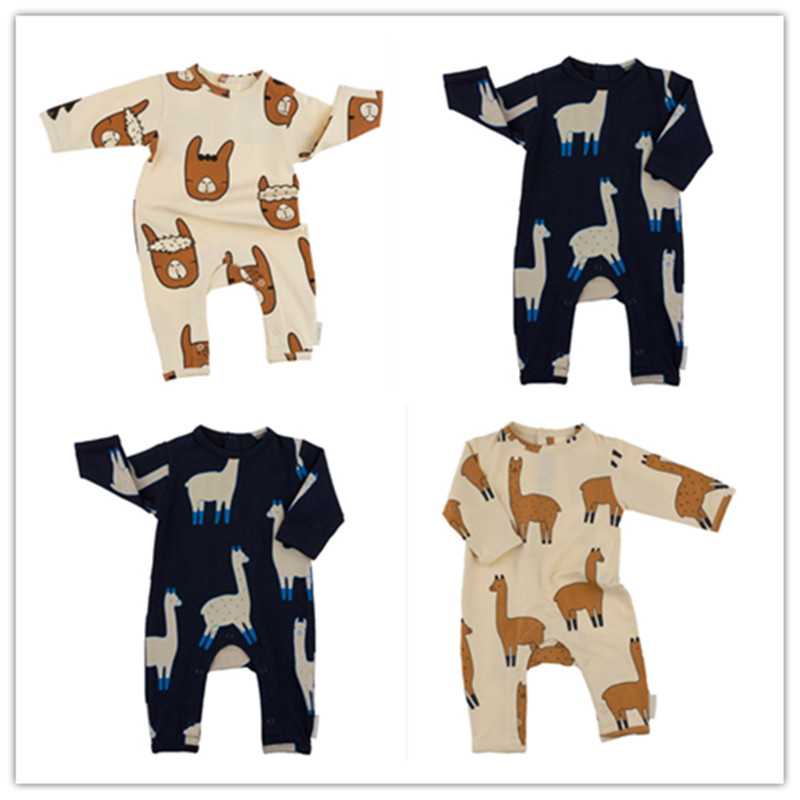 2017 Newborn Baby Boys Girls Rompers Tiny Cotton Long Sleeve Baby Toddler Romper Jumpsuit Grass Mud Horse Printing Baby Clothes newborn baby girls rompers 100% cotton long sleeve angel wings leisure body suit clothing toddler jumpsuit infant boys clothes