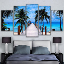 HD Print High Quality Canvas Painting Home Decorative Framework Modular Picture 5 Panel Bali Elephant Park Landscape Poster(China)