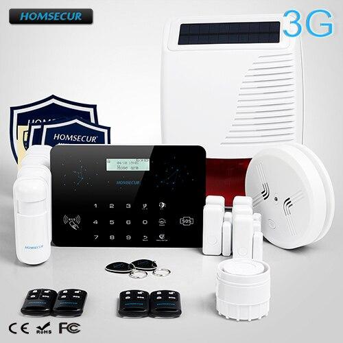 HOMSECUR Wireless Wired LCD 3G GSM PSTN RFID Burglar Intruder font b Alarm b font System