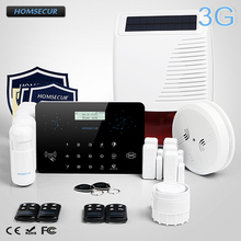 HOMSECUR Wireless&Wired LCD 3G/GSM/PSTN RFID Burglar Intruder Alarm System+Smoke Sensor   LC03-3G