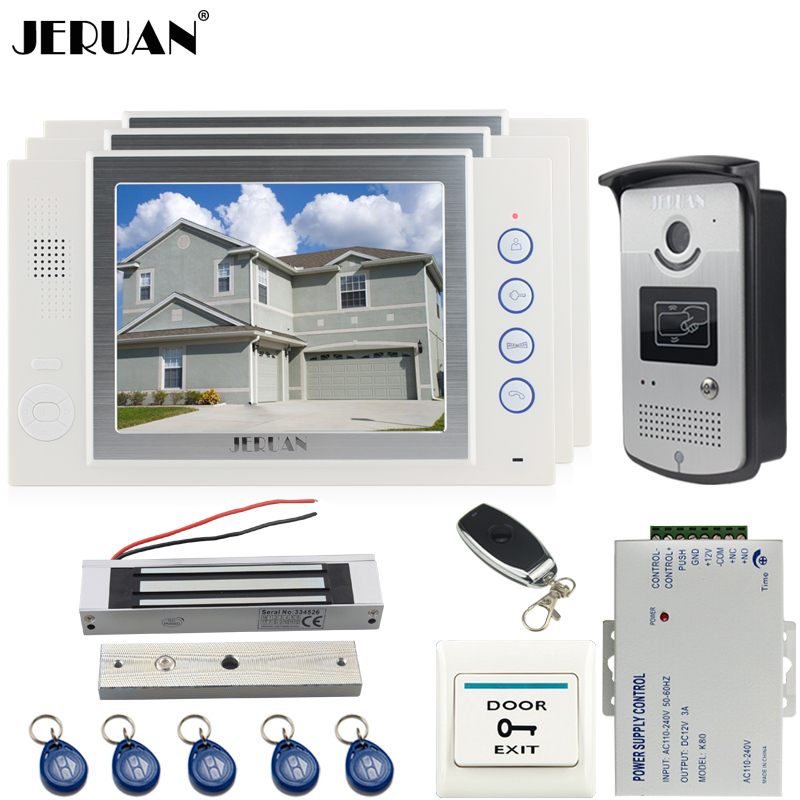 JERUAN 8`` video door phone Record intercom system kit Aluminum panel 700TVL RFID Access Camera 180KG Magnetic lock 8GB SD jeruan home 7 video door phone record intercom system kit rfid access ir camera 700tvl analog camera 8gb sd card e lock page 8