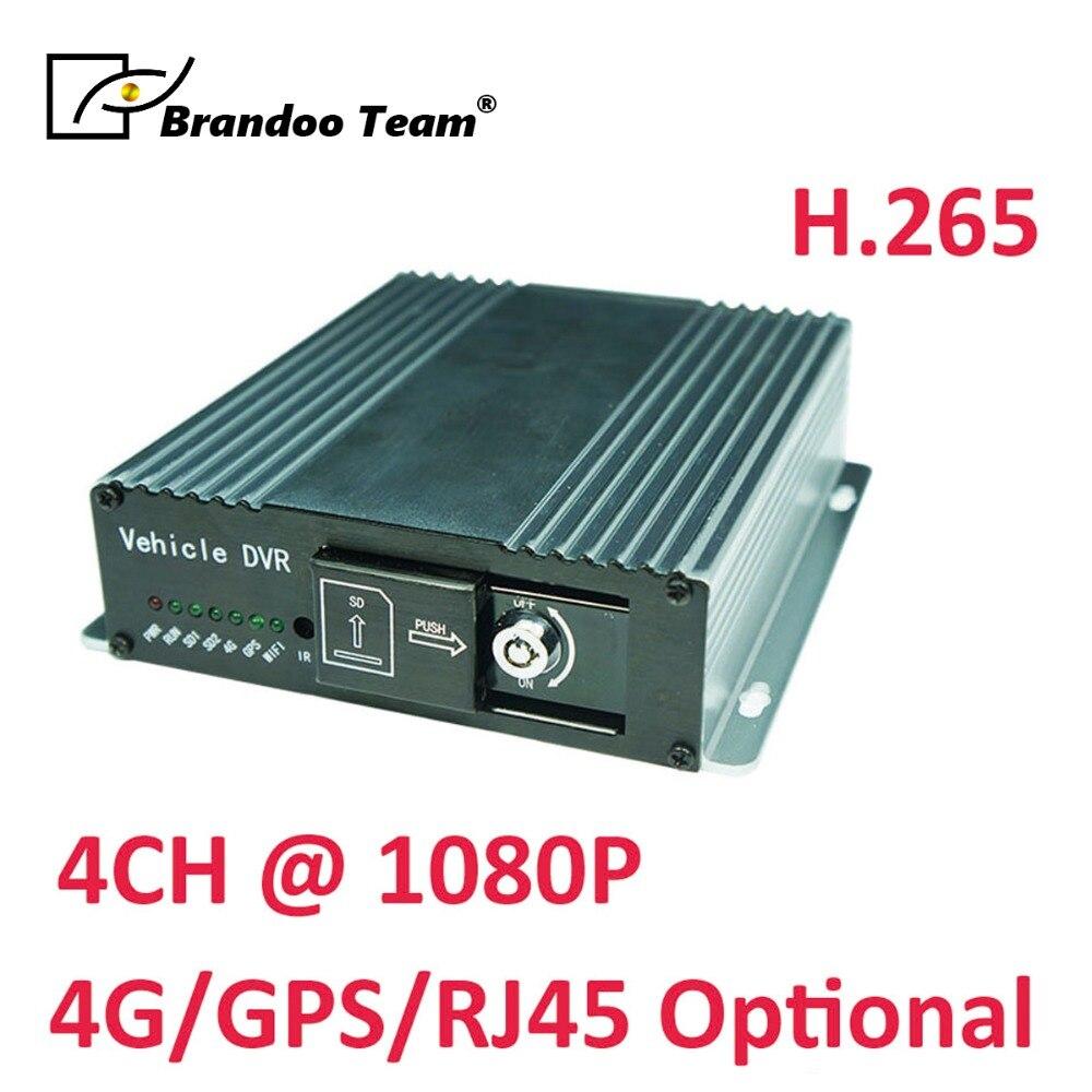 4 канала H.265 1080 P SD Автомобильный видеорегистратор автомобиль с Full HD камерой цифровой видеомагнитофон, Поддержка двойной 128 ГБ SD, автоматичес...