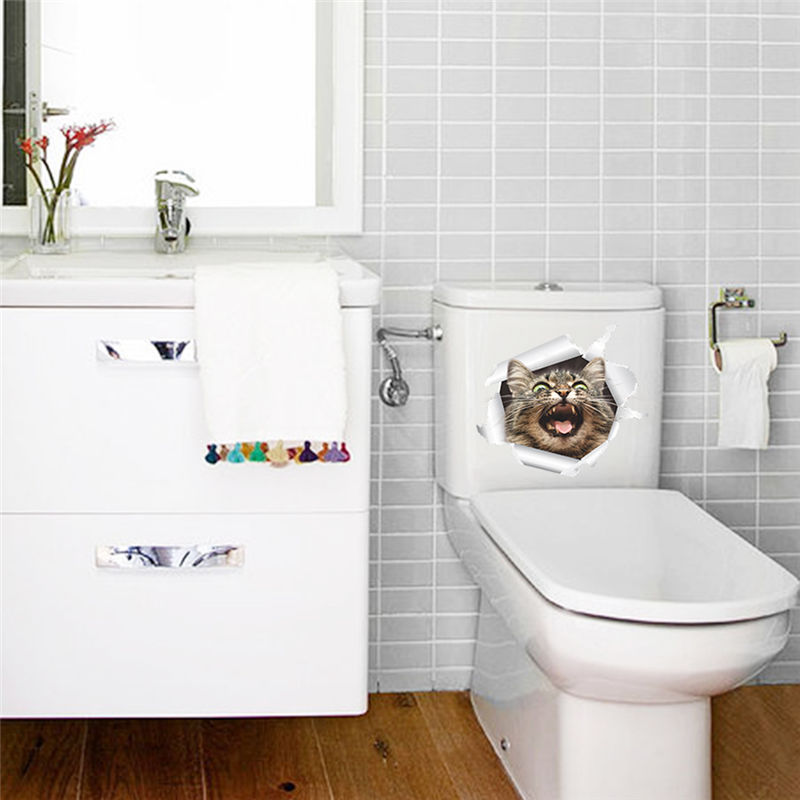 Cartoon Smile Cat Wall Stickers Kitten Home Decorations Toilet ...