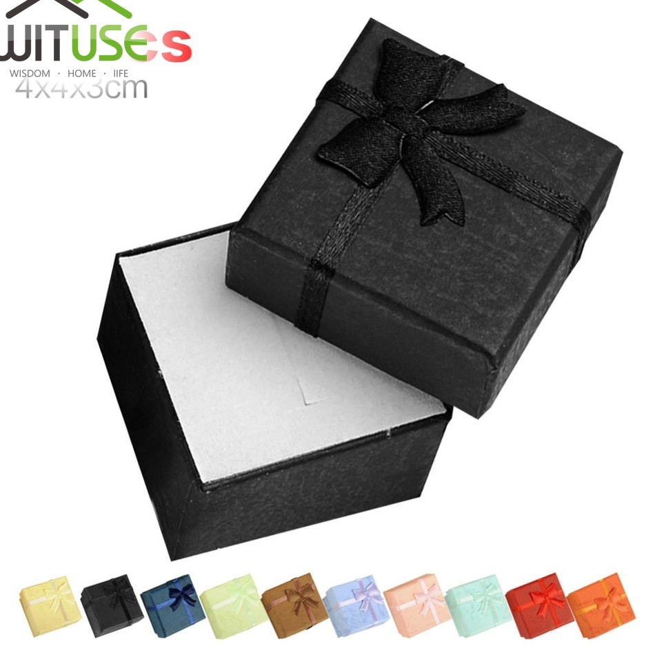 Sale 24pcs/lot 4*4*3cm Gift Box Packaging Jewelry Sets Display Box Cardboard Necklace Earrings Ring Box Ring Jewelry Organizer