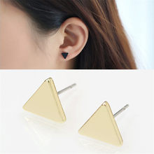 SexeMara New Fashion Gold Black Silver 3 Western Triangle Round Flash Stud Earrings for Women Gifts Wholesale(China)