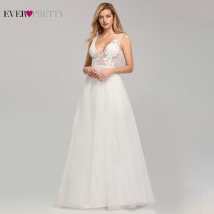 Image 4 - Wedding Dress Tulle New Sexy Deep V neck A line Backless Sleeveless Lace Appliques Simple Beach Wedding Gowns 2020 Robe Noiva
