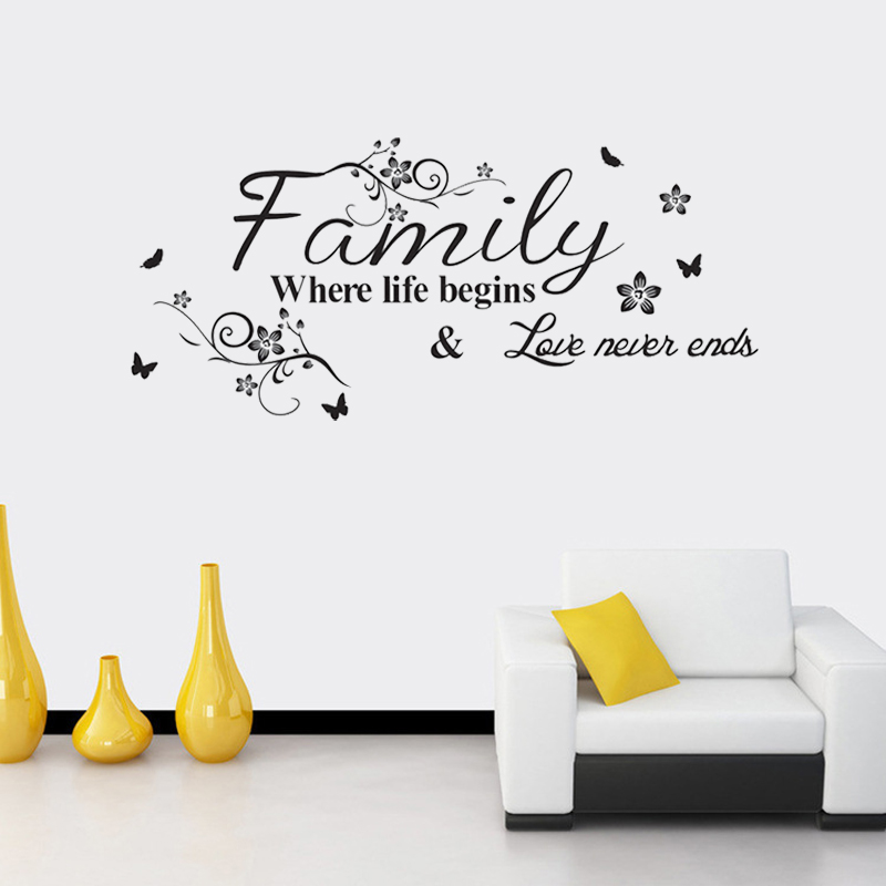 Love Family Where Life Begins Love Never Ends Removable Wall Stickers Parlor background Vinyl Art Bedroom Home Decor Mural Decal 1