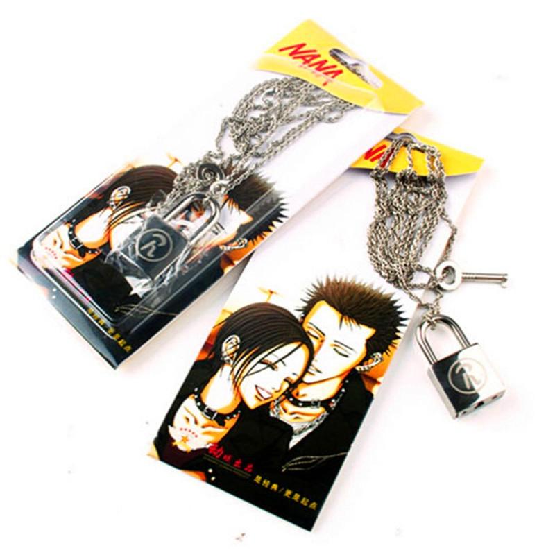 Anime NANA Lovers Necklace Props Oosaki Nana Honjo Ren Cosplay Accessories Couples Lock Key Necklace Pendant Valentine's Gift