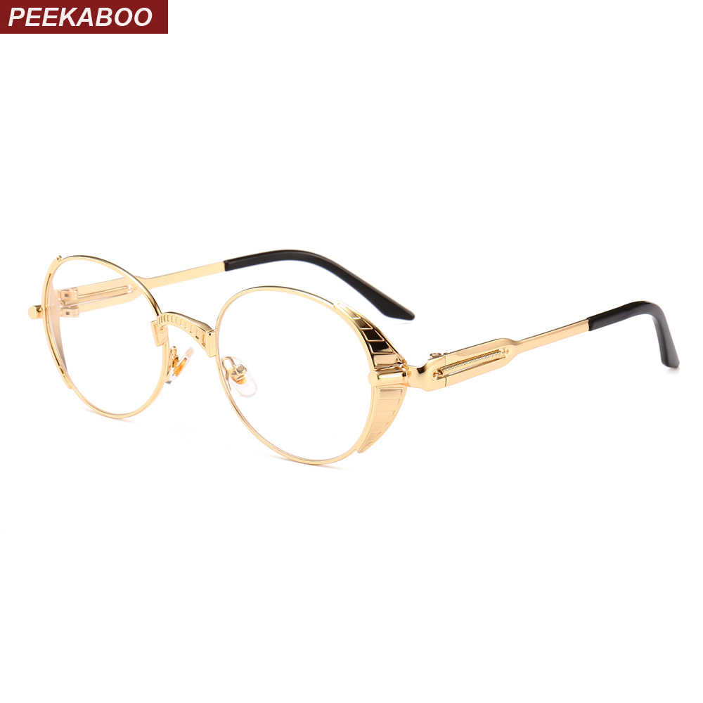 97022791f2c5e Peekaboo nerd oval glasses steampunk high quality metal gold frame clear  lens eyewear frames men round