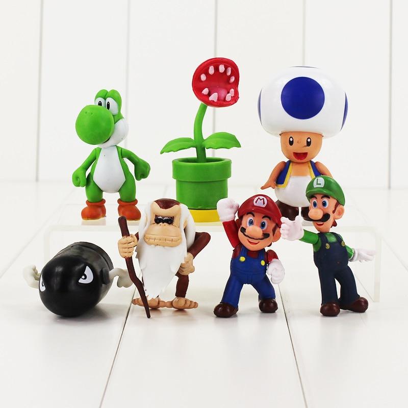 7pcs/lot Anime Super Mario Bros Luigi Flower Action Figure Toys For Kids 6-8cm