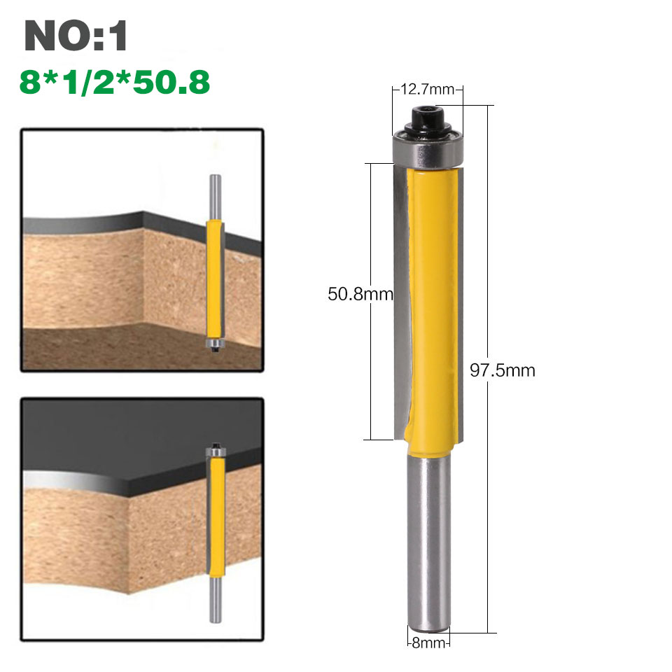 """HTB1l9gPXA5E3KVjSZFCq6zuzXXad - 1pc 8mm Shank 2"""" Flush Trim Router Bit with Bearing for Wood Template Pattern Bit Tungsten Carbide Milling Cutter for Wood 02017"""