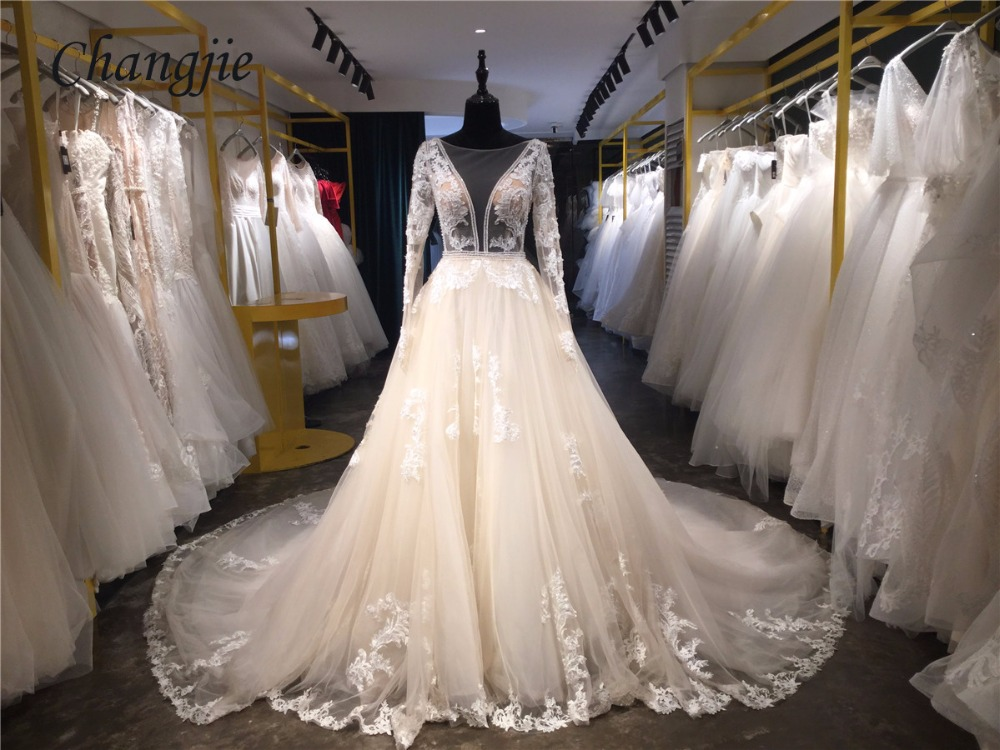 A Line Wedding Gown With Sleeves: Luxury A Line Lace Wedding Dresses With Court Train 2018