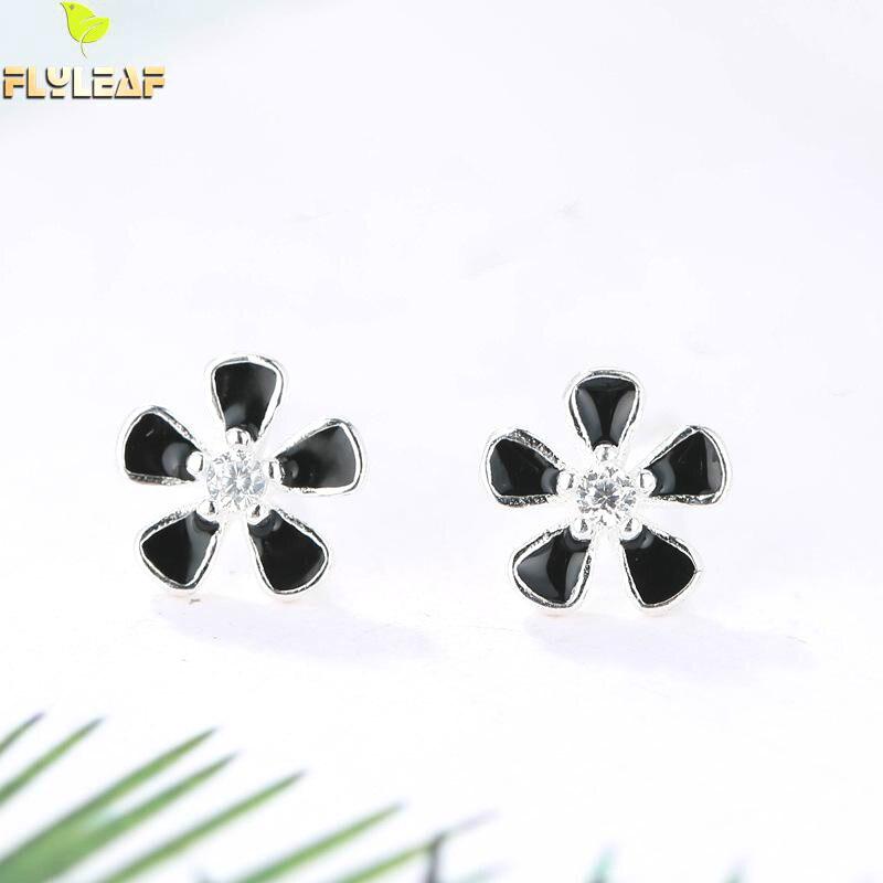 Форзаце 925 стерлингов серебристый, черный пять листьев цветка Серьги с алмазами для Для женщин простые серьги Модные украшения