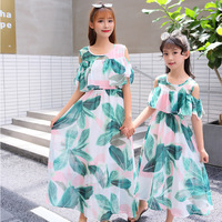 Mom and Daughter Dress Kids Dresses for Girls Leaf Chiffon Dresses Baby Girl Clothes 5 10 Years