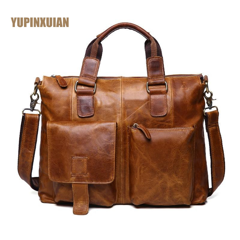 YUPINXUAN Europe Mens Vintage Cow Leather Handbags Durable Retro Genuine Leather Briefcases Real Leather Hand Bags Russian Men