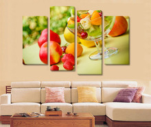 4Panel Modern Art HDFruit Salad Picture Oil Painting on Canvas for Living Room Wall Art Gift Decoration Home No Frame