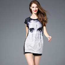 Factory wholesale 2019 spring summer new high-end boutique womens clothing fashion printing ice silk cotton slim dress female