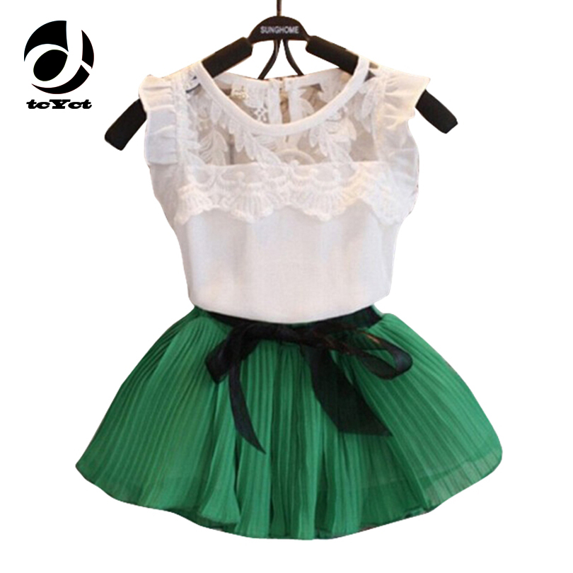 Children Clothes 2017 Summer Kids Girls Clothes Set T-shirt + Tutu Skirt Outfits Girl Sport Suit Toddler Girls Clothing Sets
