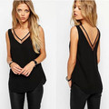 Hot Sales Tank Top 2015 New Arrival Summer Style  Tank Top Black /White Sexy Chiffon Tops Casual Women Sleeveless Blouse