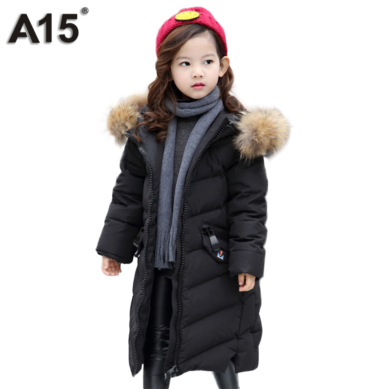 A15 Brand Down Jacket for Girls Teenagers 2017 Russia Winter Jackets Girl Hooded Long Kids Coat with Fur Parkas Clothing 8 10 12 a15 girls down jacket 2017 new cold winter thick fur hooded long parkas big girl down jakcet coat teens outerwear overcoat 12 14