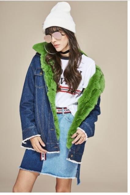 Новая модная уличная одежда Женская Толстая джинсовая куртка съемная подкладка из натурального кроличьего меха и меховой воротник большие зимние парки - Цвет: C1