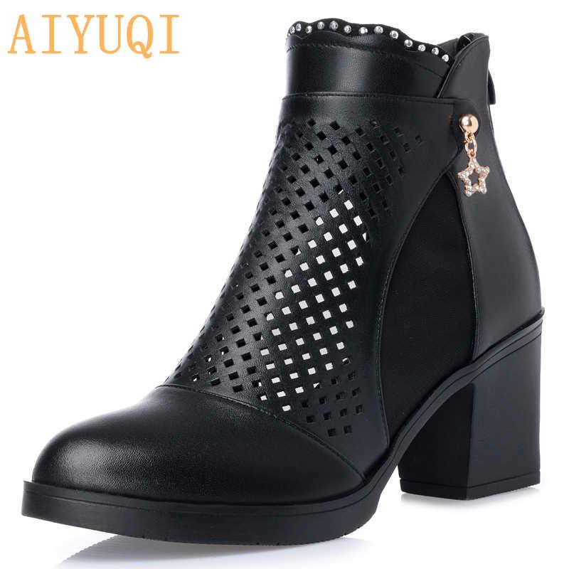 Kadın yaz yarım çizmeler, nefes deri kısa çizmeler. Kadın peep toe siyah sandalet, rahat kadın ayakkabı oymak