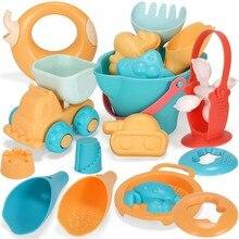 Пластиковые пляжные игрушки для детей набор песочницы Набор морской песок ведро грабли песочные часы стол для игры и веселья Лопата плесень лето