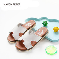 2017 Leather Slippers Summer For Children Girls Beach Slippers Kids Brand Slippers Indoor Chaussure Enfant Leather